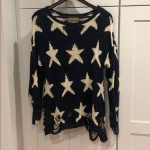 Wildfox Blue and White Long Sleeve Knit Sweater